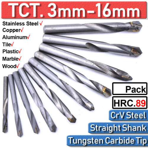 5-35Pcs Hardplate Carbide Tip Ground TCT Drill Bits Precision Stainless Steel