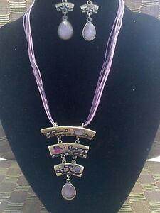 Free-Shipping-Christmas-Wedding-Bohemian-Enamel-Ribbon-Necklace-Earrings-Set