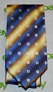 CROFT-amp-BARROW-Blue-Brown-Gold-Stripe-Square-Foulard-Handmade-Tie-100-Polyester