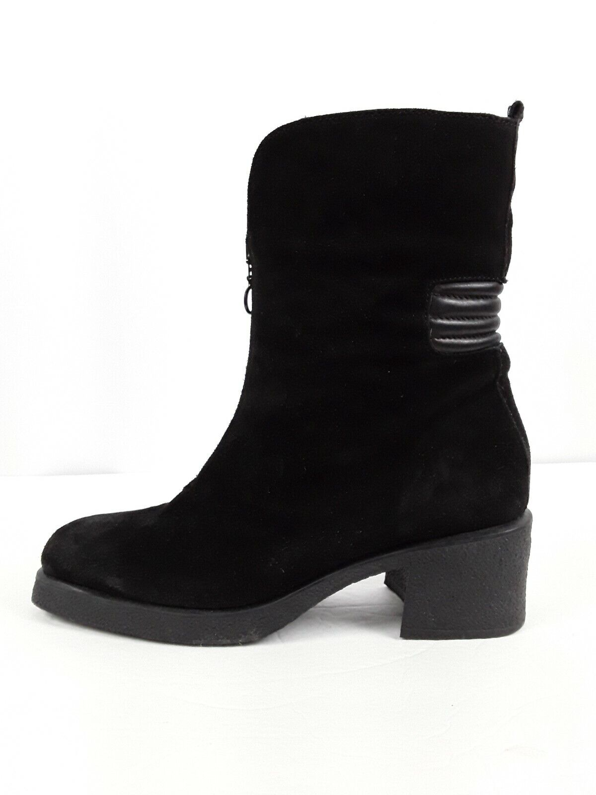 Aquatalia Black Suede Front Zipper Boots Women's Size 9.5