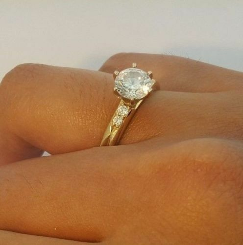 1.25 Ct 14K Yellow Gold Cathedral Round Engagement Wedding Ring// Promise Ring