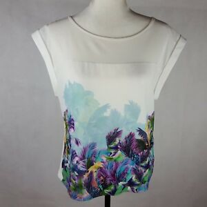Forever-New-Top-Size-10-Short-Sleeve-Floral
