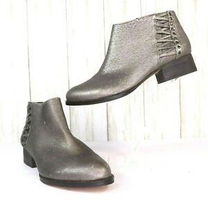 New-Vince-Camuto-Gray-Distressed-Leather-Ankle-Boots-Size-8-5-Womens-8-5M