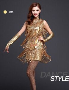 b359a9402 Details about Adult Lady Tassel Latin Salsa Ballroom Performance  Competition Dance Dress Gold