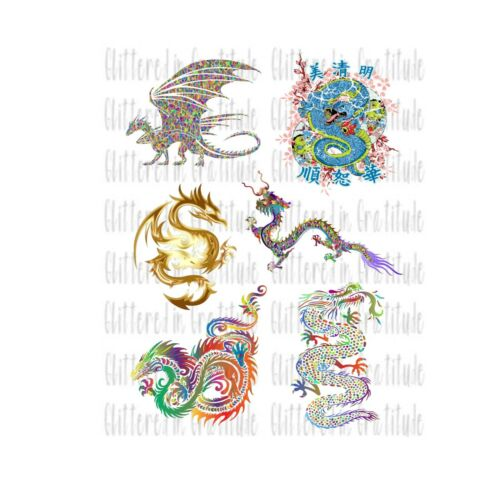 6 Dragon Waterslide Decals for Tumblers SEALED Set #102