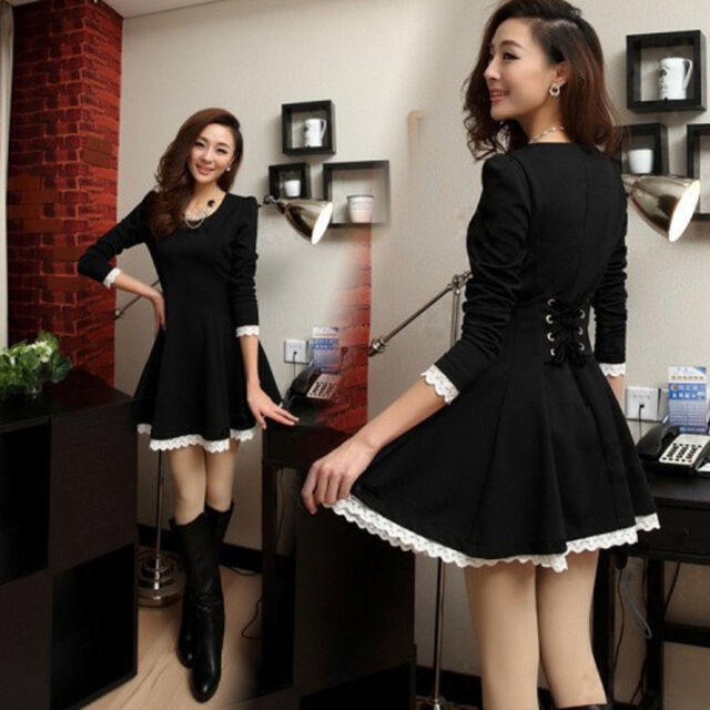 Korean Fashion Sweet Lolita Chic Black Corset Back Dress Punk Goth Pastel