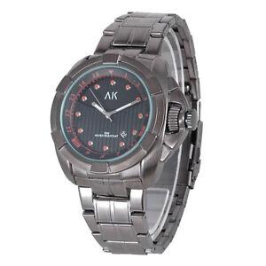 AK-Analog-Black-Dial-Stainless-Steel-Date-Men-039-s-Army-Military-Sport-Quartz-Watch