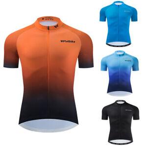 Mens Team Short Sleeve Cycling Jersey Bicycle Full Zip Racing Shirt Bike Tops US