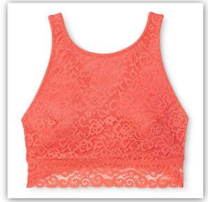 5e63320181 Details about Xhilaration Women s High Neck Crossback Lace Bralette Coral S    XS   M   L   XL