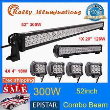"""52inch 300W LED Light Bar+20'' 126W+4X 4"""" 18W CREE Led Pods SUV 4X4WD Truck Jeep"""