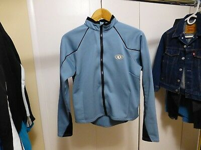 Women's Pearl Izumi Blue/black Softshell Fleece Lined Poly Full Zip Jacket Sz Women's Clothing M At Any Cost Activewear