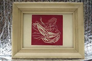 VTG-1960-s-Susan-Bratley-lithography-artist-Woodcut-Linocut-Print-Framed-Signed