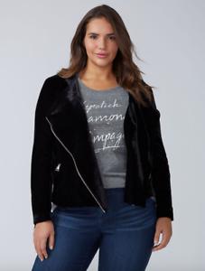 Lane-Bryant-Velvet-Moto-Jacket-Womens-Plus-18-20-Black-Spring-Fall-2x