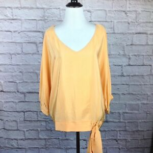 Antonio-Melani-Top-Women-Medium-Orange-Dolman-Silk-Oversize-Blouse-Side-Tie