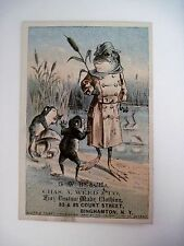 "1880 Victorian Trade Card w/ A Frog Wearing a Coat Made by ""Chas.A.Weed & Co.- *"