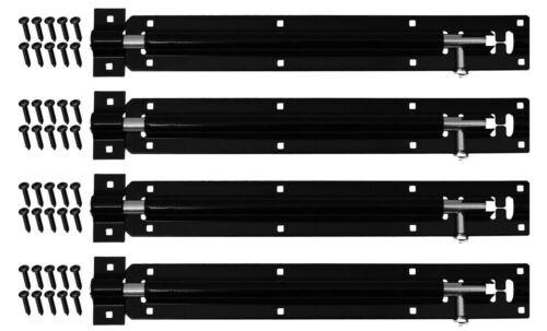 4 x noir tour diapositive 8 pouces bolt heavy duty acier jardin porte cabane latch lock