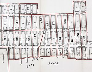1915 New York Map Kips Bay Manhattan Bellevue East River Piers