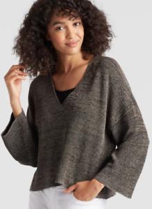Eileen Fisher M Vee Neck Cropped Top Sleek Tencel Knit schwarz Natural NWT