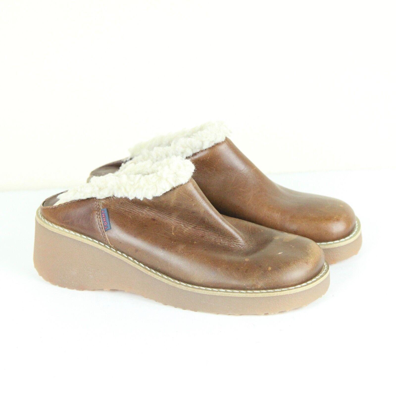 Vintage 90s Tommy Hilfiger Leather Clogs Wedges M… - image 1