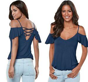 Women-Cold-Shoulder-Top-Blouse-Blue-Crisscross-Back-Ruffle-Summer-8-10-12-14-16