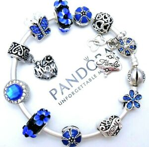Details about Authentic Pandora Silver Bangle Charm Bracelet With Family  Blue Heart Charms