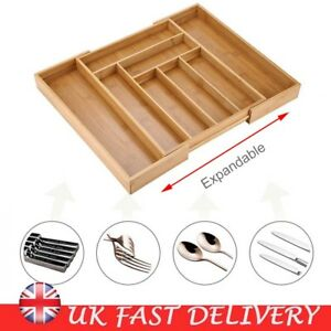 Details about Bamboo Expandable Wooden Cutlery Tray Spoon Holder Tidy  Kitchen Drawer Organiser