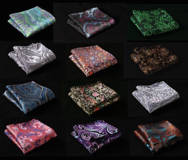 FD Paisley Floral Men Silk Satin Pocket Square Hanky Wedding Party Handkerchief