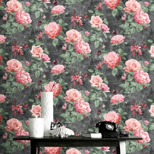 Charcoal Rasch 215014 Portfolio Vintage Rose Wallpaper Floral Pink