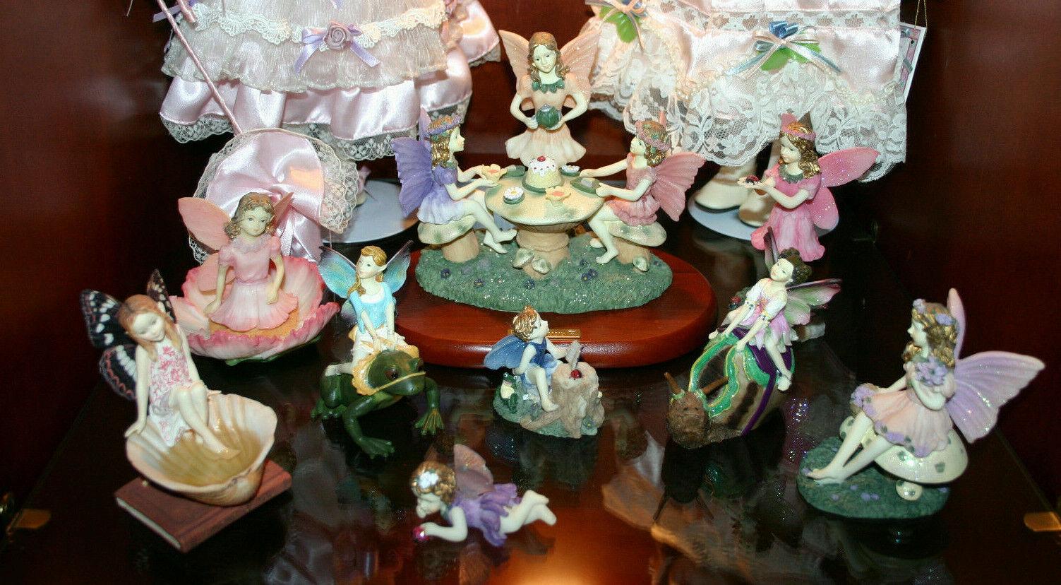 Vtg Miniature Tea Party Set 12 Fairy Snail Sea Shell Fantasies Snail Frog Flower