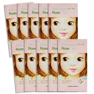 [ETUDE House] Green Tea Nose Pack Blackhead Remover Nose Strip 10+2pc Men/Women