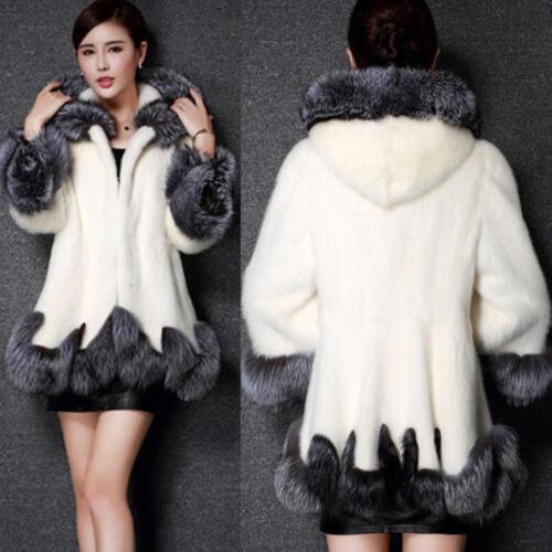 Women Thicken Whole FOX FUR Coat Winter Warm Hooded Jacket Long Parka Outwear SZ