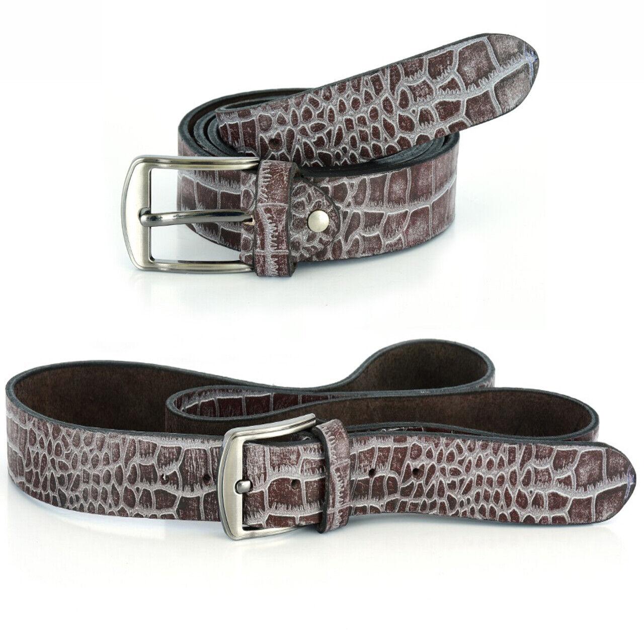Krokoleder Gürtel Ledergürtel aus Büffelleder Jeansgürtel Bundweite 85-155