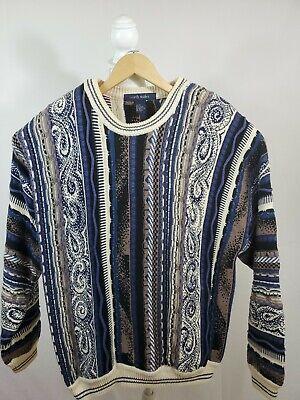 North Wales Sportswear Bright Multicolored Coogi Style Cotton 3D Sweater XL EUC   eBay