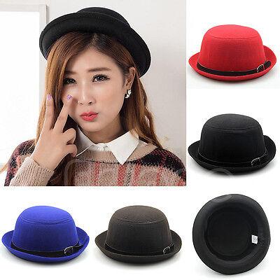 Vintage Vogue Ladies Women Trendy Solid Bowler Wool Cute Derby Trilby Hat New