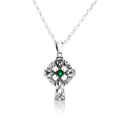 Hilfreich Emerald Celtic Cross Pendant Sterling Silver 925 Hallmark All Chain Lengths