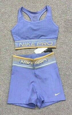 Prestigioso Tendero Repulsión  Nike PRO SHORTS & sports BRA SET size S 8 10 PURPLE BNWT coord | eBay