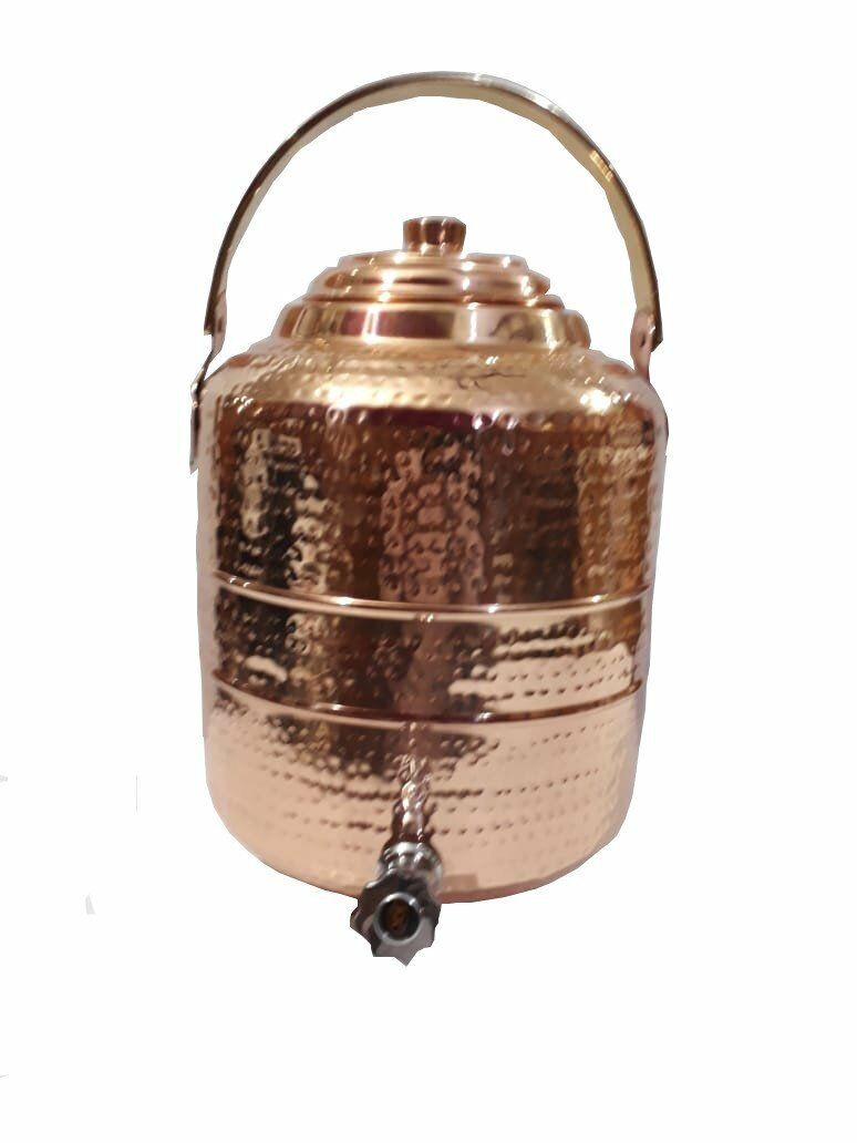 Copper Water Dispenser 1.7 gal 6.5 Ltr 218 oz Pot Storage Tank With Tap Kitchen