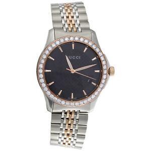60b18bb4a2c Gucci Ya126410 Diamond Watch G-Timeless 38mm Two Tone Rose   S ...