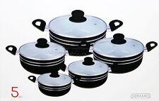5pc Ceramic Coated Non Stick Die-Cast Casserole Set INDUCTION Cookware BLACK -R