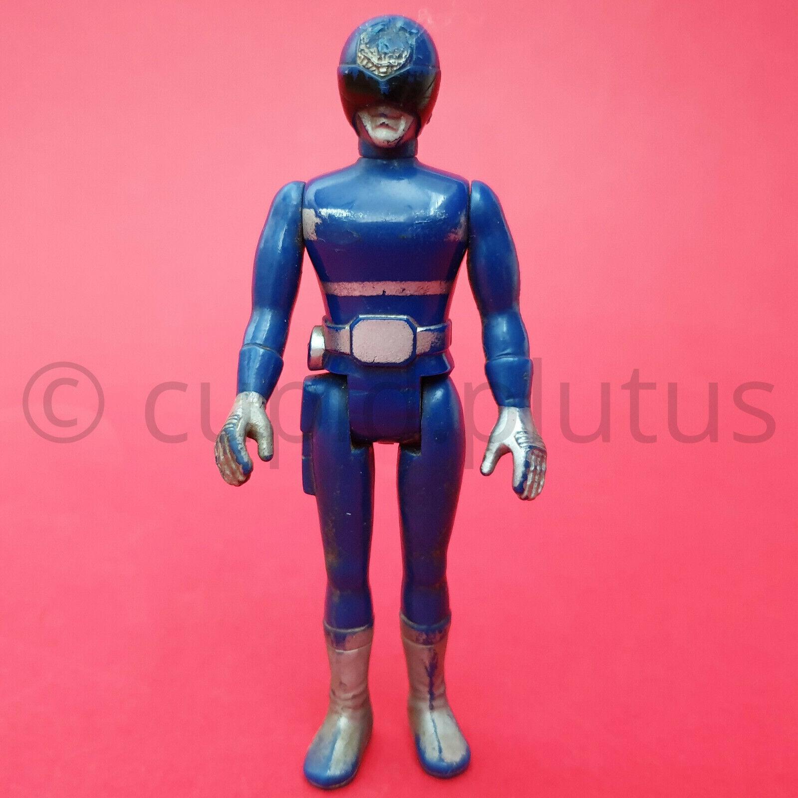 Vintage Japón 1980s Popy World Heroes Figura Azul denjiman (raro) súper Sentai