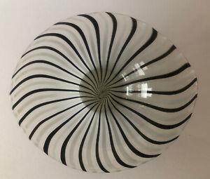 "MURANO STYLE ART GLASS CLEAR WHITE DARK BROWN/BLACK 12 1/4"" CENTERPIECE BOWL"
