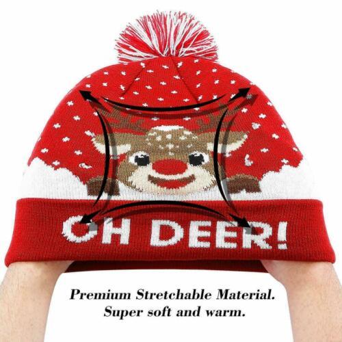 US LED Christmas Knitted Hats Light-Up Xmas Knit Beanie Adults Santa Kids Gift
