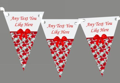 Red Poppy Shabby Chic Vintage Personalised Wedding Venue or Reception Bunting