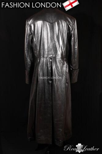/'MORPHEUS/' Black Men/'s Lambskin Full-Length Leather Long Trench Coat Jacket