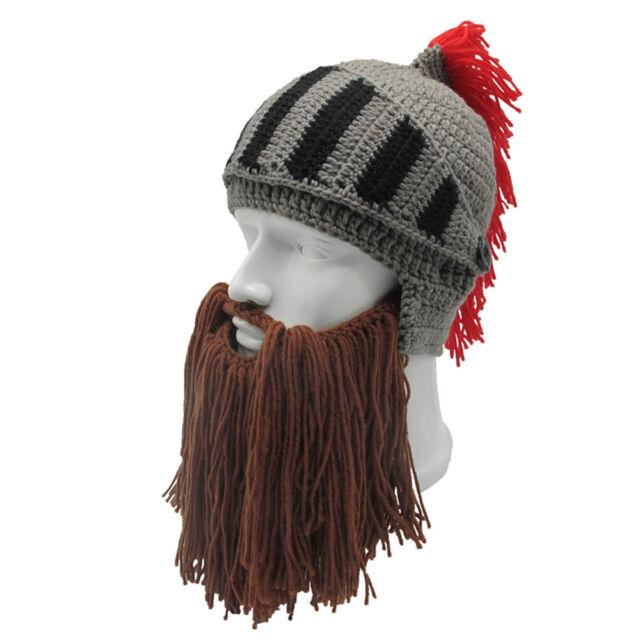 031fc0d0486 1pc Thermal Roman Helmet Barbarian Knight Knit Beard Funny Ski Mask Winter  Hat Black for sale online