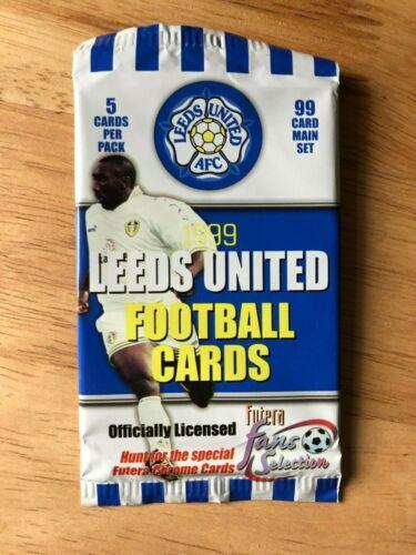 Paquete sellado de Futera 1999 Leeds ventiladores selección Trading Cards 5 Tarjetas