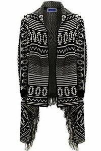 Women/'s Ladies Aztec Stripe Cable Knitted Waterfall Frill Poncho Cardigan  8-14