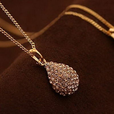 Fashion Women Rhinestone Gold Silver Teardrop Chain Crystal Pendant Necklace