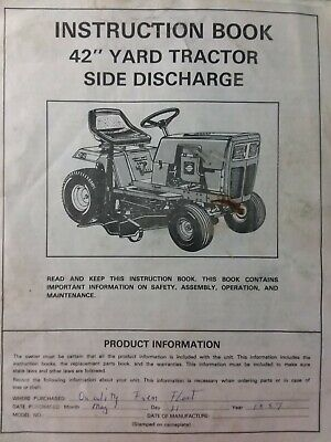 Quality Pro Farm Country Murray Lawn Yard Tractor 42 Mower Impl Owners Manual EBay