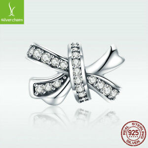 925-Sterling-Silver-Charm-Bead-Sweet-Bow-knot-with-CZ-For-Girl-Bracelet-Jewelry